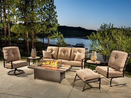 OW Lee Ridgewood Wrought Iron Firepit Lounge Set