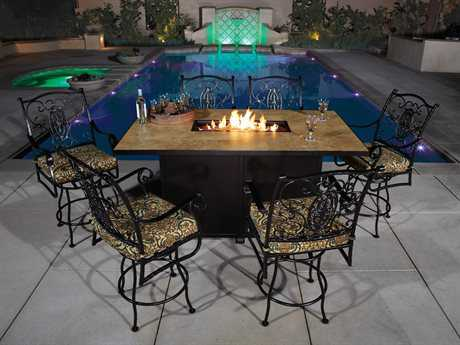OW Lee San Cristobal Wrought Iron Counter Fire Pit Set OWSANCHATSET