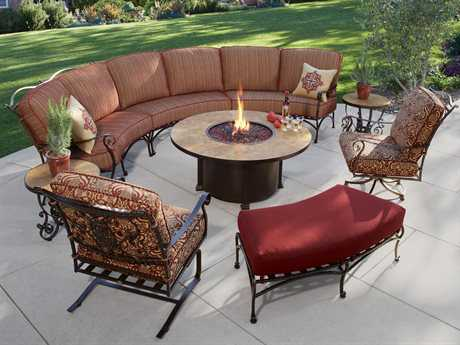 OW Lee San Cristobal Wrought Iron Sectional Firepit Set