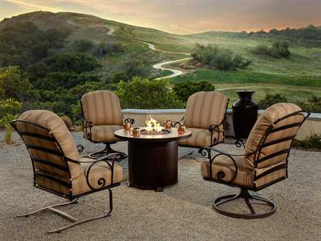 OW Lee Siena Wrought Iron Firepit Lounge Set