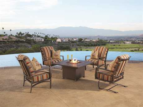 OW Lee Sol Wrought Iron Firepit Lounge Set