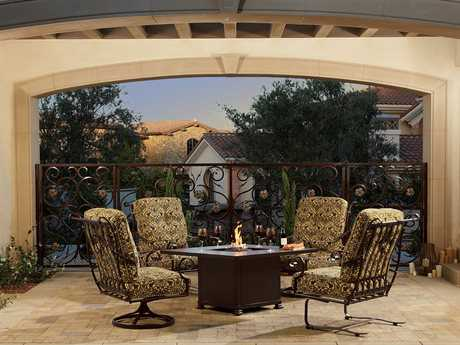 OW Lee St. Charles Wrought Iron Firepit Lounge Set