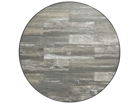 OW Lee Porcelain Reclaimed 48 x 1.5 Round Table Top with Umbrella Hole