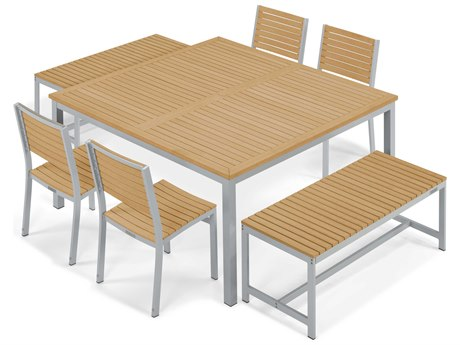 Oxford Garden Travira Aluminum Wood Wicker Dining Set