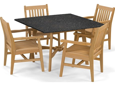 Oxford Garden Wexford Aluminum Wood Dining Set OXF5389