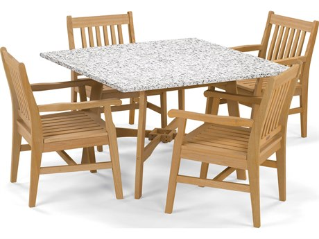 Oxford Garden Wexford Aluminum Wood Dining Set OXF5390