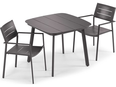 Oxford Garden Eiland Aluminum Carbon Three-Piece Dining Set