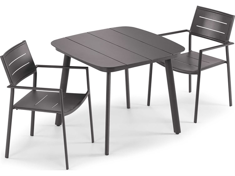 Oxford Garden Eiland Aluminum Carbon Three-Piece Dining Set PatioLiving