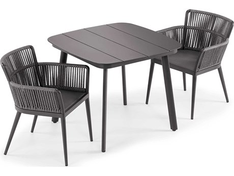 Oxford Garden Nette Aluminum Carbon / Pewter Three-Piece Dining Set PatioLiving