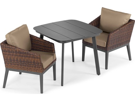 Oxford Garden Salino Aluminum Wicker Carbon Sable with Truffle Cushion Three-Piece Dining Set PatioLiving