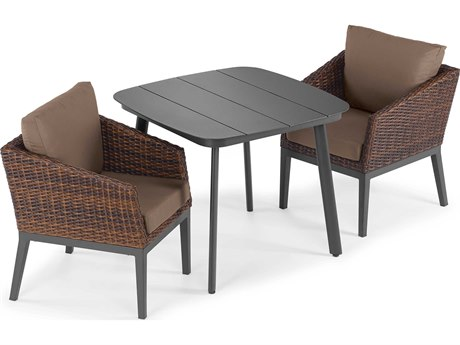 Oxford Garden Salino Aluminum Wicker Carbon Sable with Toast Cushion Three-Piece Dining Set PatioLiving