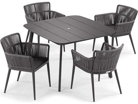 Oxford Garden Nette Aluminum Carbon / Pewter Five-Piece Dining Set