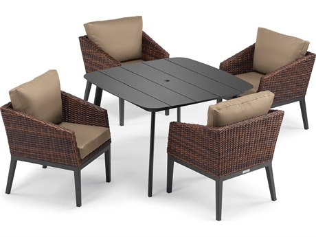 Oxford Garden Salino Aluminum Wicker Carbon Sable with Truffle Cushion Five-Piece Dining Set PatioLiving