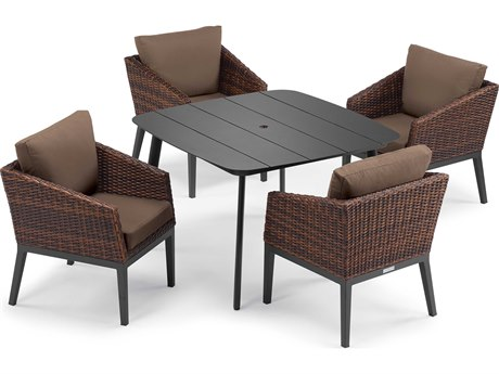 Oxford Garden Salino Aluminum Wicker Carbon Sable with Toast Cushion Five-Piece Dining Set PatioLiving