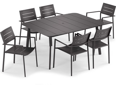 Oxford Garden Eiland Aluminum Carbon Seven-Piece Dining Set