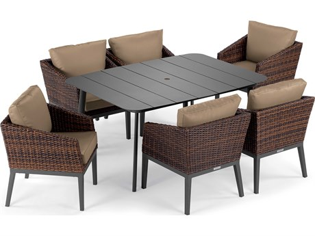 Oxford Garden Salino Aluminum Wicker Carbon Sable with Truffle Cushion Seven-Piece Dining Set PatioLiving