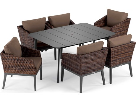 Oxford Garden Salino Aluminum Wicker Carbon Sable with Toast Cushion Seven-Piece Dining Set PatioLiving
