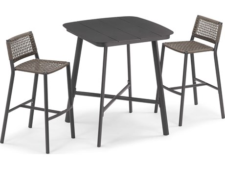 Oxford Garden Eiland Aluminum Carbon / Mocha Three-Piece Bar Set