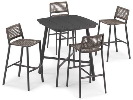 Oxford Garden Eiland Aluminum Carbon / Mocha Five-Piece Bar Set