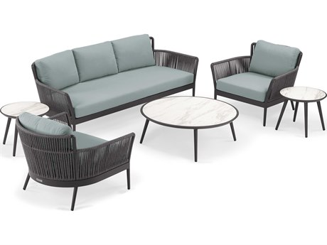 Oxford Garden Nette Aluminum Carbon / Seafoam Six-Piece Lounge Set