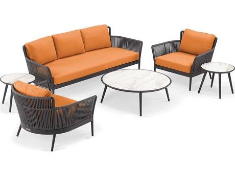 Oxford Garden Nette Aluminum Carbon / Tangerine Six-Piece Lounge Set