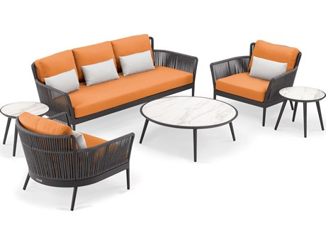 Oxford Garden Nette  Aluminum Carbon / Tangerine with Salt Pillow Six-Piece Lounge Set