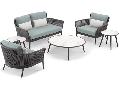 Oxford Garden Nette Aluminum Carbon / Seafoam with Salt Pillow Six-Piece Lounge Set