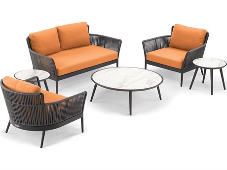 Oxford Garden Nette Aluminum Carbon / Tangerine Six-Piece Lounge Set