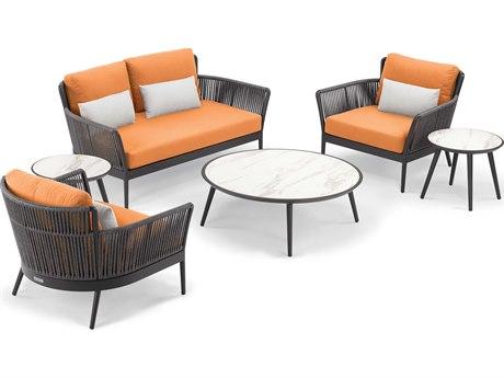 Oxford Garden Nette Aluminum Carbon/ Tangerine with Salt Pillow Piece Lounge Set