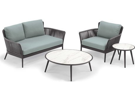 Oxford Garden Nette Aluminum Carbon / Seafoam Four-Piece Lounge Set