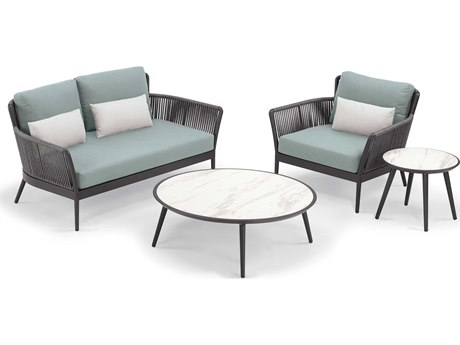 Oxford Garden Nette Aluminum Carbon / Seafoam with Sal Pillow Four-Piece Lounge Set
