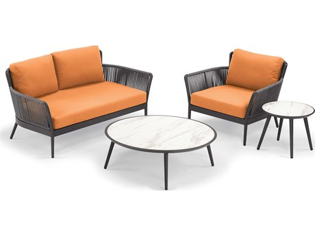 Oxford Garden Nette Aluminum Carbon / Tangerine Four-Piece Lounge Set