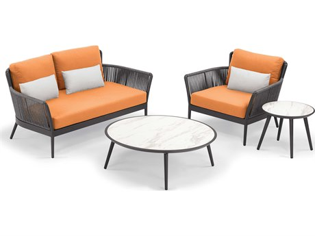 Oxford Garden Nette Aluminum Carbon / Tangerine with Salt Pillow Four-Piece Lounge Set
