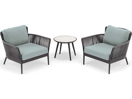 Oxford Garden Nette Aluminum Carbon / Seafoam Three-Piece Lounge Set