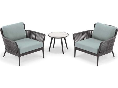 Oxford Garden Nette Aluminum Carbon / Seafoam Three-Piece Lounge Set