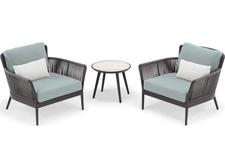 Oxford Garden Nette Aluminum Carbon / Seafoam with Salt Pillow Three-Piece Lounge Set