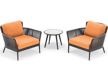 Oxford Garden Nette Aluminum Carbon / Tangerine Three-Piece Lounge Set