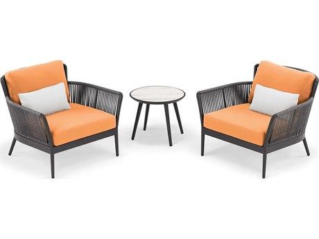 Oxford Garden Nette Aluminum Carbon / Tangerine with Salt Pillow Three-Piece Lounge Set