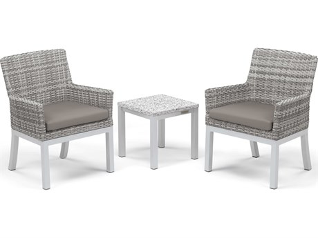 Oxford Garden Travira Aluminum Wicker Cushion Lounge Set
