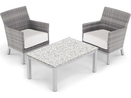 Oxford Garden Argento & Travira Aluminum Wicker Cushion Lounge Set PatioLiving