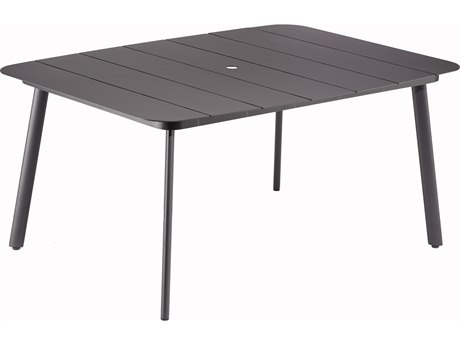 Oxford Garden Eiland 63'' Wide Aluminum Rectangular Umbrella Hole Dining Table