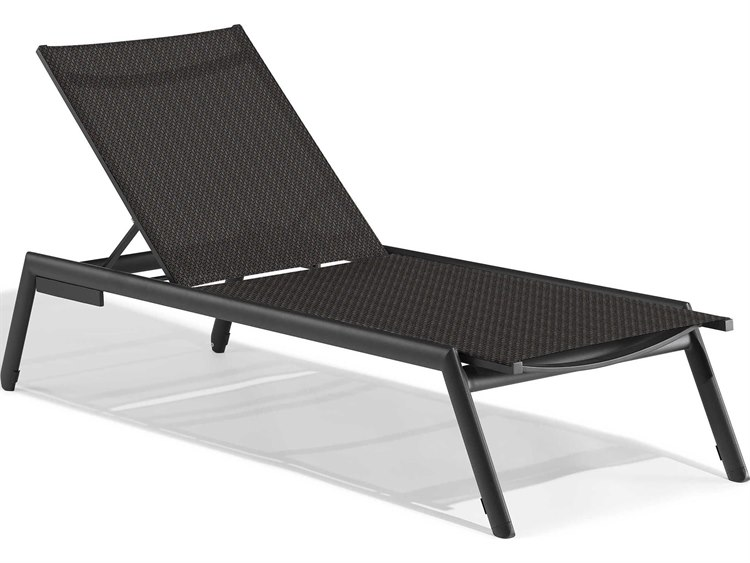 Oxford Garden Eiland Aluminum Carbon Armless Chaise Lounge - Set of 4 PatioLiving