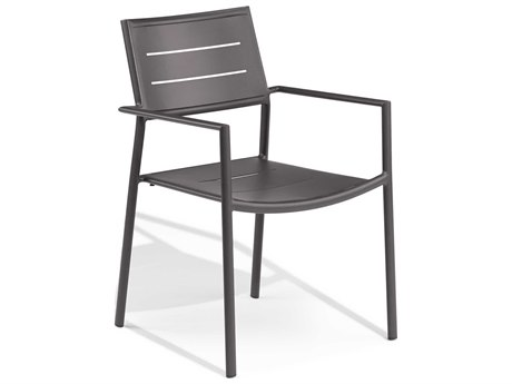 Oxford Garden Eiland Aluminum Carbon Dining Arm Chair - Set of 2