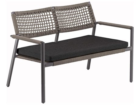 Oxford Garden Eiland Aluminum Cushion Loveseat with Pepper Cushion