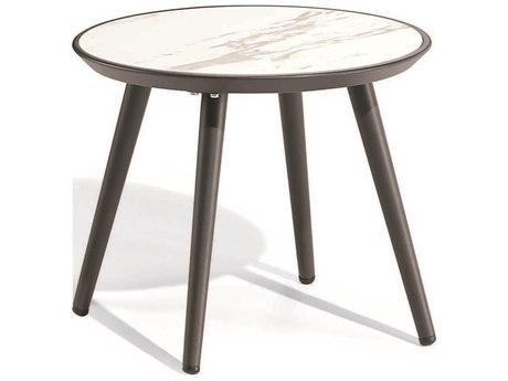 Oxford Garden Nette Aluminum Carbon 21''Wide Round End Table