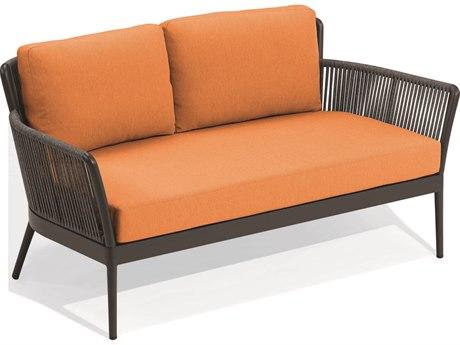 Oxford Garden Nette Aluminum Carbon / Tangerine Loveseat