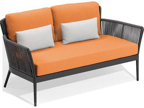 Oxford Garden Nette Aluminum Carbon / Tangerine with Salt Pillow Loveseat