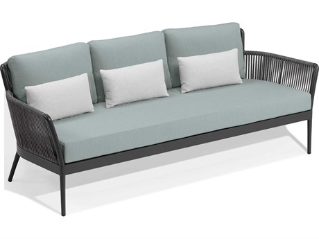 Oxford Garden Nette Aluminum Carbon / Seafoam with Salt Pillow Sofa