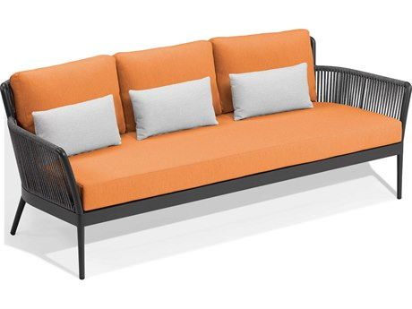 Oxford Garden Nette Aluminum Carbon / Tangerine with Salt Pillow Sofa