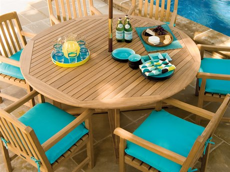 Oxford Garden Dining 47'' Wide Wood Round Umbrella Hole Table